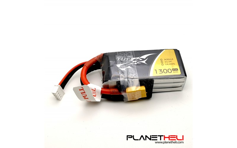 TATTU 1300mAh 11.1V 45C 3S1P Lipo Battery Pack with XT60