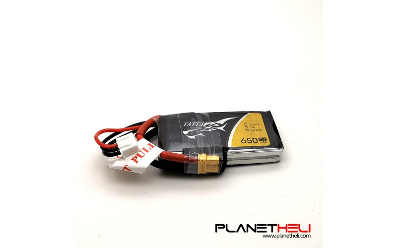 Tattu 650mAh 2S1P 75C 7.4V Lipo Battery Pack with XT30 plug