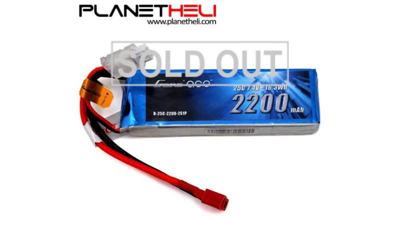 Gens ace 2200mAh 7.4V 25C 2S1P Lipo Battery Pack with T Plug