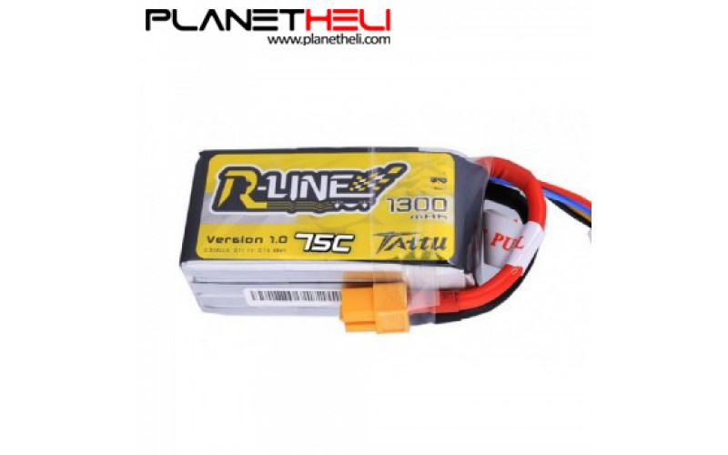 Tattu R-Line 1300mAh 4S1P 75C lipo battery pack with XT60 Plug