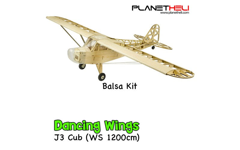 Dancing Wings - J3 Piper Cub Premium Balsa Wood Remote Control Airplane Kit wingspan 1,2M