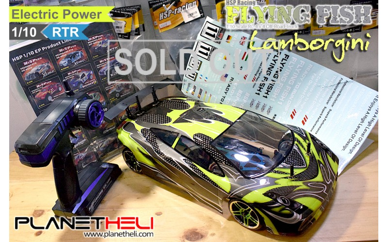 HSP RC Drift Car Flying Fish 4wd FULL Propo 1/10 Scale Ready To Run Lambo Green