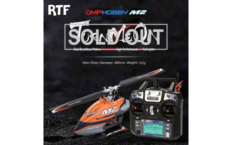 OMPHOBBY M2 Dual-brushless motor direct-drive 3D helicopter-RTF with Fs-i6