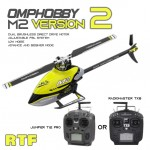 OMPHOBBY M2 V2 6CH 3D Flybarless Dual Brushless Motor Direct-Drive RC Helicopter RTF + RX TX (select TX)
