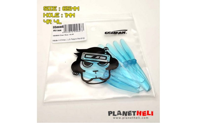 Gemfan 65mmS Transparent 2 leaf Propeller Blue - 1mm hole