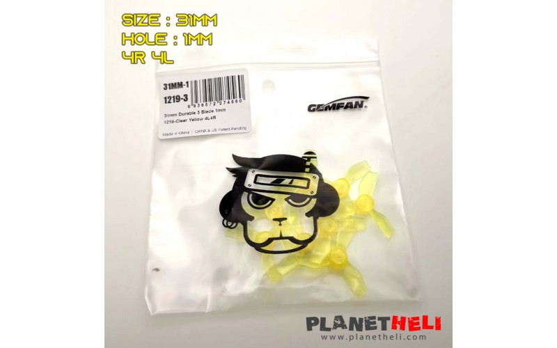Gemfan 31mm Transparent 3 leaf Propeller Yellow - 1mm hole for mobula6 and HD